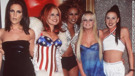 382312 01: 1997 New York. The Spice Girls attending the 1997 MTV Video Awards at the Radio City Music Hall in NYC. From left to right: Victoria Addams (Posh Spice), Geri Halliwell (Sexy Spice), Melanie Brown (Scary Spice), Emma Lee Bunton (Baby Spice) and Melanie Chislom (Sporty Spice).
