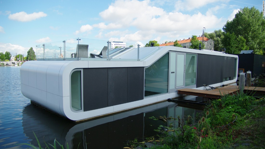 House boats are nothing new in the Netherlands, where much of the land lies beneath sea level and is susceptible to flooding. Designed and constructed by +31ARCHITECTS, the 2,120-square-foot Watervilla de Omval floats on the Amstel River. It's a contemporary take on the traditional houseboat, featuring a curvaceous exterior, glass-front façade and a rooftop terrace to make the most of the surrounds.