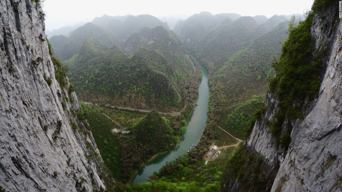 From the top, you get an incredible view of China's ancient karst landscape.