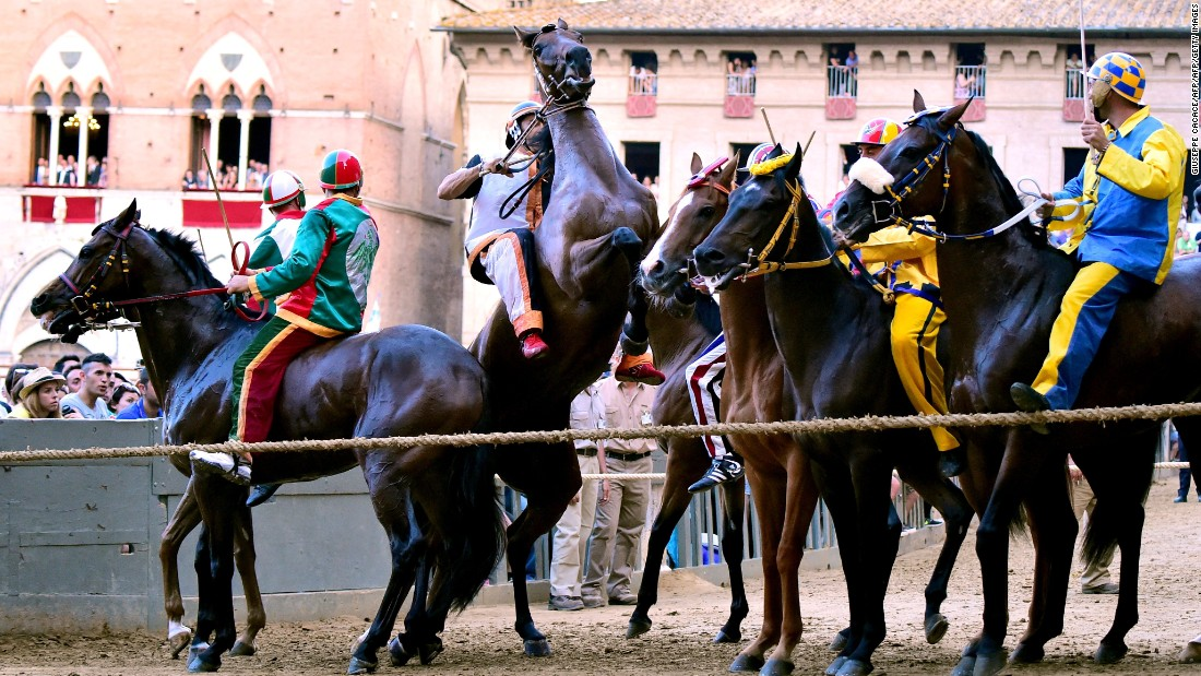 """All the riders wear the respective colors of their districts but, in a race dubbed by some """"the toughest horse race in the world,"""" they must ride bareback."""