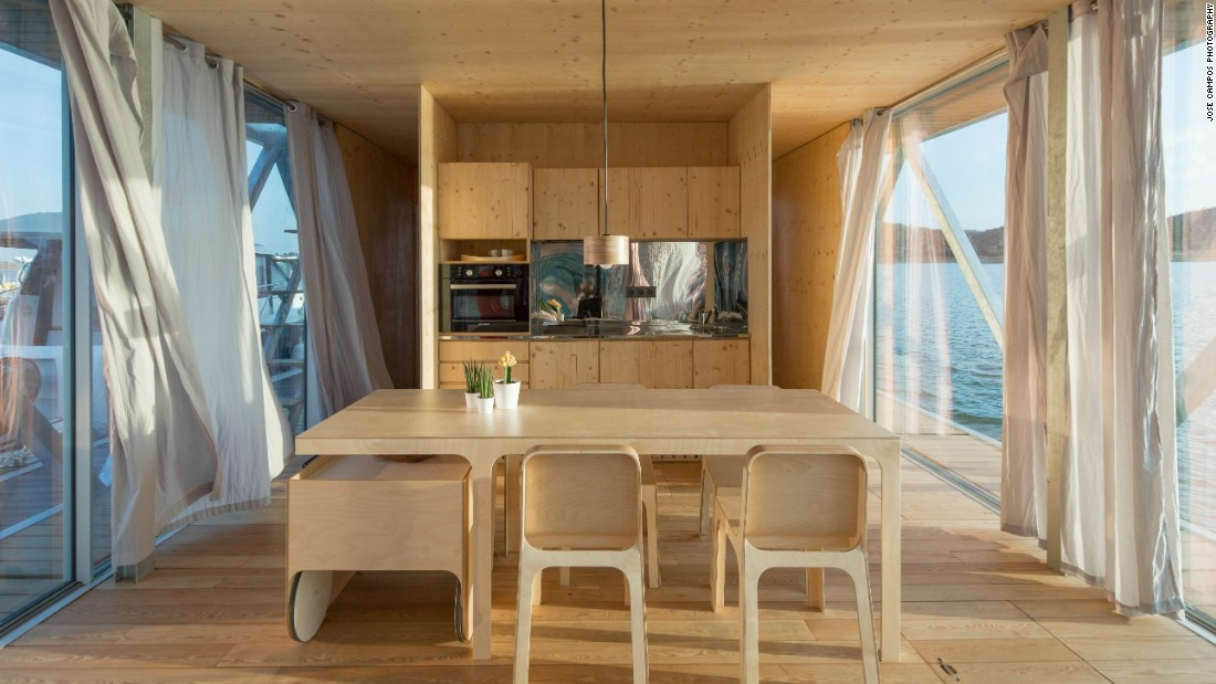 As stylish as it is sustainable, Floatwing homes come with a wine cellar, barbecue area and a rooftop terrace. As for sustainability, the designers chose eco-friendly materials such as cork and wood. It's energy efficient too, thanks to double-glazed panels for insulations and solar panels that cover up to 80 percent of energy consumption throughout the year.
