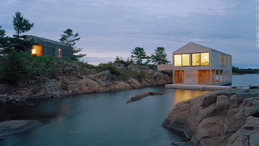 Tucked away in the Great Lakes, MOS Architects' one-bedroom Floating House rests atop steel pontoons, allowing it to rise and fall with water levels. Built off site, the house traveled about 50 miles before reaching its home on the remote island in Lake Huron.