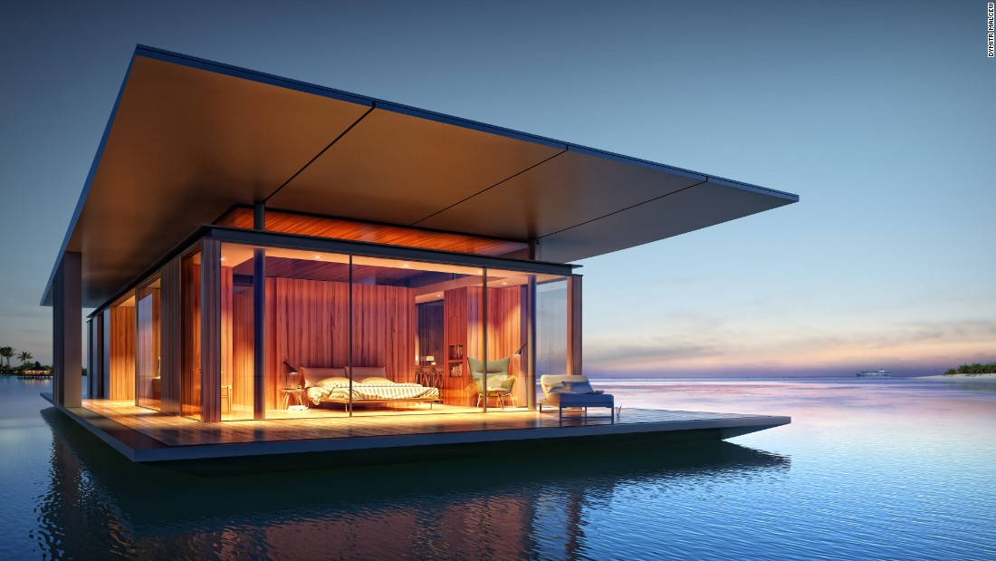 Designed by Singapore-based architect Dymitr Malcew, The Floating House aims to make the nomad life as leisurely and luxurious as possible. Each home is fully sustainable, built with its own water purification system and solar panels for electricity.