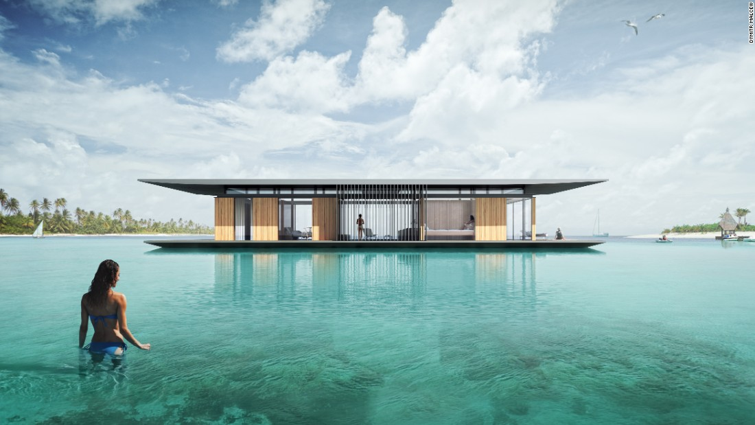 To enable The Floating House to rise and fall with the tides,architect Dymitr Malcewconstructed the home on floating steel pontoons. An engine can be installed upon request, enabling owners to travel the world from the comfort of their own home.