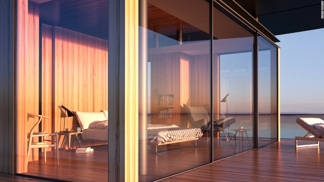 When building The Floating House, one ofarchitect Dymitr Malcew's main goals was to complement the surroundings. Taking inspiration from nature, the design accentuates the landscape, featuring floor-to-ceiling glass curtain walls and an abundance of wood. Each room has easy-access to a wrap-around terrace, and enormous windows let in lots of natural light.<br />