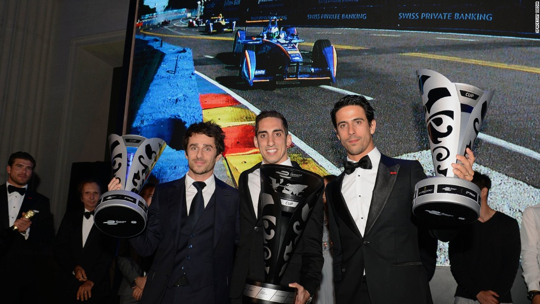 Buemi (center), di Grassi (right) and Prost at the Formula E Awards Gala held at the  British Museum, London on Sunday July 3.