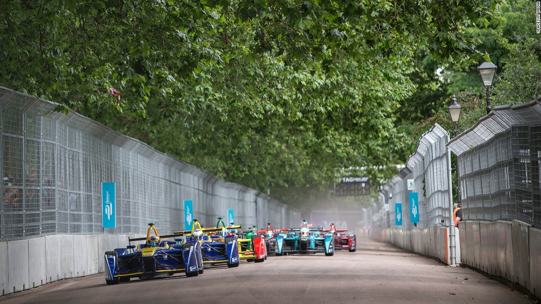 Formula E cars currently have a maximum speed of 140 mph and are powered entirely by electricity.