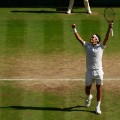 Roger Federer Wimbledon quarterfinals celebration