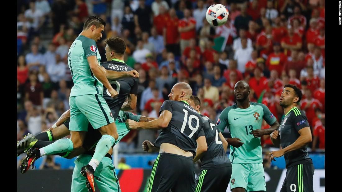 Ronaldo powers home his header.