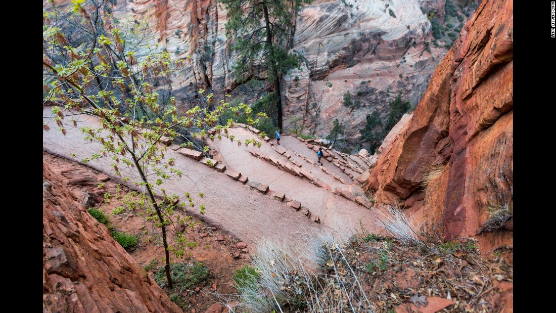 The strenuous hike to Angels Landing is about a five-mile round trip from the Grotto parking lot shuttle stop. During your ascent to Angels Landing along the West Rim Trail, you'll encounter several steep switchbacks known as Walter's Wiggles.
