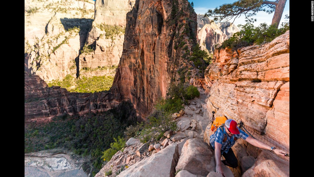 The West Rim Trail leads into the comforting shade of Refrigerator Canyon and continues past Scout Lookout, veering to the right toward Angels Landing. Then you'll scramble over several camel humps until you reach the top of Angels Landing, where breathtaking views of Zion Canyon await.