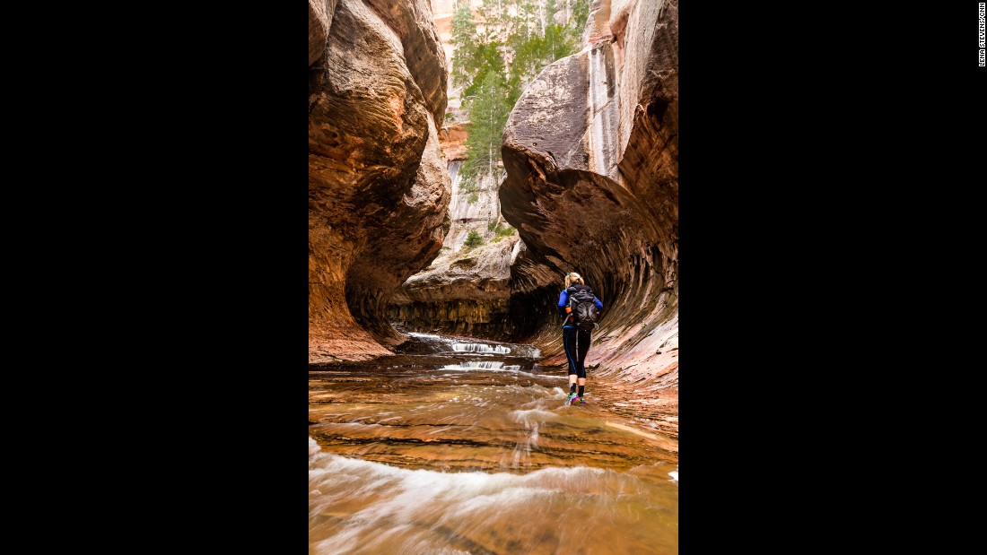 "Another strenuous hike takes adventurers through <a href=""https://www.nps.gov/zion/planyourvisit/thesubway.htm"" target=""_blank"">The Subway</a> (a narrow canyon carved by the waters of the Left Fork of North Creek). The nine-mile round trip from the bottom up doesn't involve the rappelling skills required to go from the top down. Permits are required in either direction."