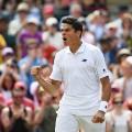 Milos Raonic celebrates quarterfinal Wimbledon