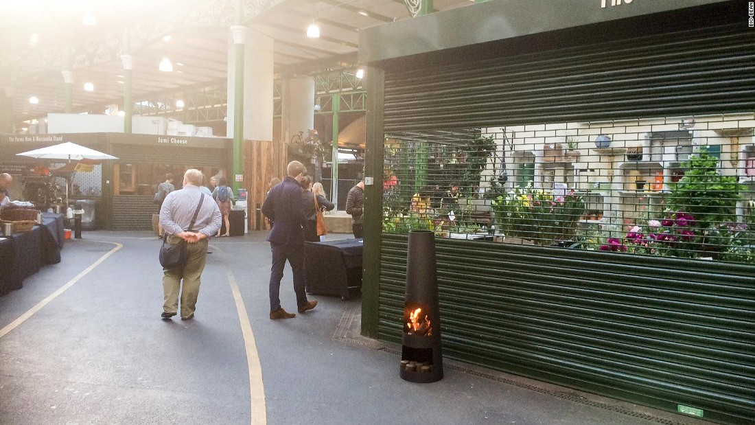 """A burner fueled by bio-bean briquettes at London's Borough Market. """"Two and half years ago, this was a sketch on the back of a napkin,"""" says Kay. """"Today, it's a ground-out reality which could power the future."""""""