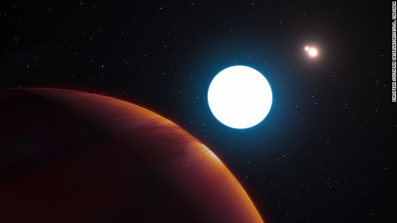 This artist's impression shows a view of the triple-star system HD 131399 from close to the giant planet orbiting in the system. The planet is known as HD 131399Ab and appears at the lower-left of the picture. Located about 320 light-years from Earth in the constellation of Centaurus (The Centaur), HD 131399Ab is about 16 million years old, making it also one of the youngest exoplanets discovered to date, and one of very few directly imaged planets. With a temperature of around 580 degrees Celsius and an estimated mass of four Jupiter masses, it is also one of the coldest and least massive directly-imaged exoplanets.