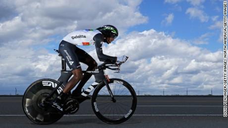 Daniel Teklehaimanot racing in the  Tour of California, in May 2016.