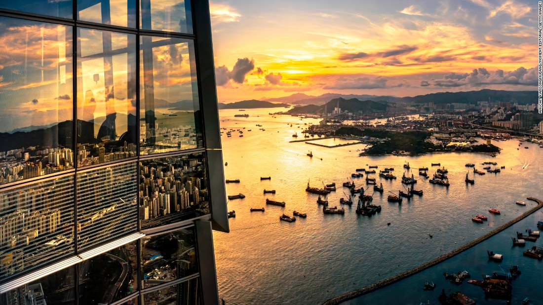 This 360-degree observation deck is located on the 100th floor of Hong Kong's tallest skyscraper. The 118-story International Commerce Center towers over Victoria Harbor.