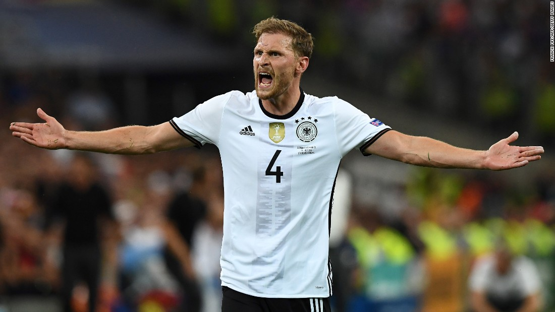 German defender Benedikt Howedes reacts during the match.