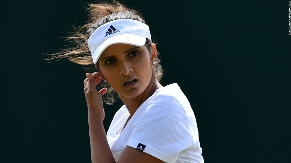 Sania Mirza (pictured) won the women's doubles title last year with Martina Hingis, but the top-ranked duo were shocked in Thursday's quarterfinals by fifth seeds Timea Babos and Yaroslava Shvedova, who will next play American No. 10 pairing Raquel Atawo and Abigail Spears.