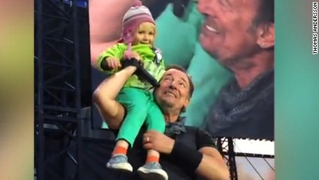 "4-year old sings adorable duet with Springsteen. And gets his harmonica. Jeanne Moos introduces us to Hope.    Springsteen Toddler   Adorableness alert!!! All the bad news getting on your nerves? Overdosed on the election? Watch Bruce Springsteen melt hearts with a 4-year old named Hope. Springsteen invites Hope on stage at a concert in Norway, and she brings down the house with their ""duet"".  Not only did she have an amazing moment in the limelight, he also gave her his harmonica. We talked to Hope, who tells us (in her ever-so-cute British accent) that her favorite part was when Bruce carried her around on his shoulder. How'd she feel? ""Happy"" and ""not scared at all."" What's her message to Bruce? ""I love you."" Slightly soapy but totally sweet story with great video of these two interacting."