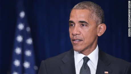 US President Barack Obama speaks on the shooting in Dallas, Texas, on the sidelines of the NATO Summit at a hotel in Warsaw, Poland on July 8.