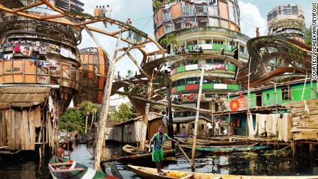"Pictured: Lagos Makoko Canal. Estimates vary on the population of Nigeria's infamous floating slum. Resident numbers range from 85,000 to 250,000. It was originally a small fishing village in the 18th century. Informal wooden homes are built on stilts, earning it the title ""the Venice of Africa""."