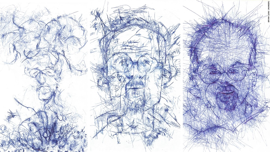 """The evolution of Saunders' draftsmanship through the course of """"Blind""""."""