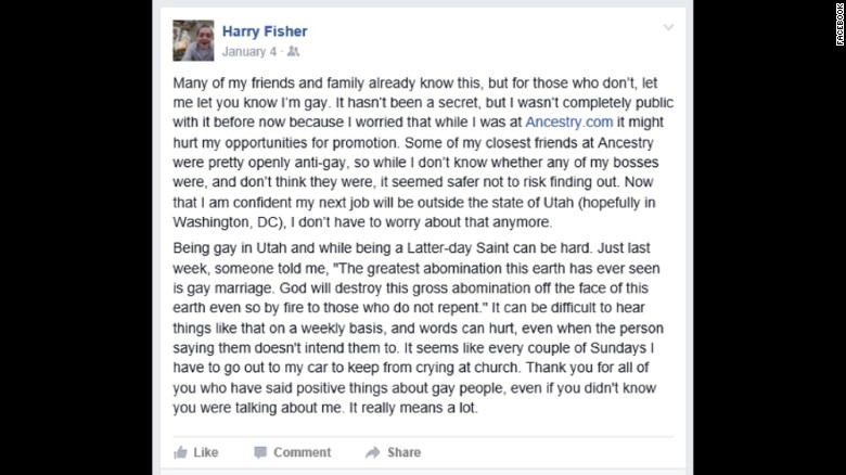 Harry Fisher's came out as gay on Facebook last January.