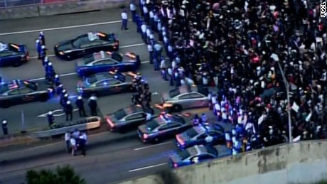 Protesters in Atlanta block a highway following the recent police shootings