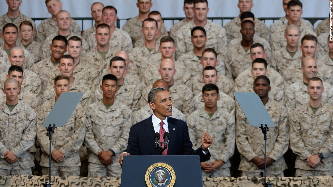 U.S. President Barack Obama delivers remarks during his visit at California's Camp Pendleton Marine Corps base with troops and their families to thank them for their service on August 7, 2013.