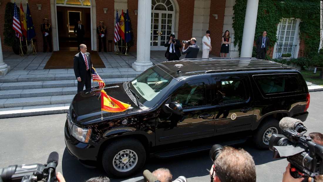 Obama's car arrives at Moncloa Palace on July 10 in Madrid.