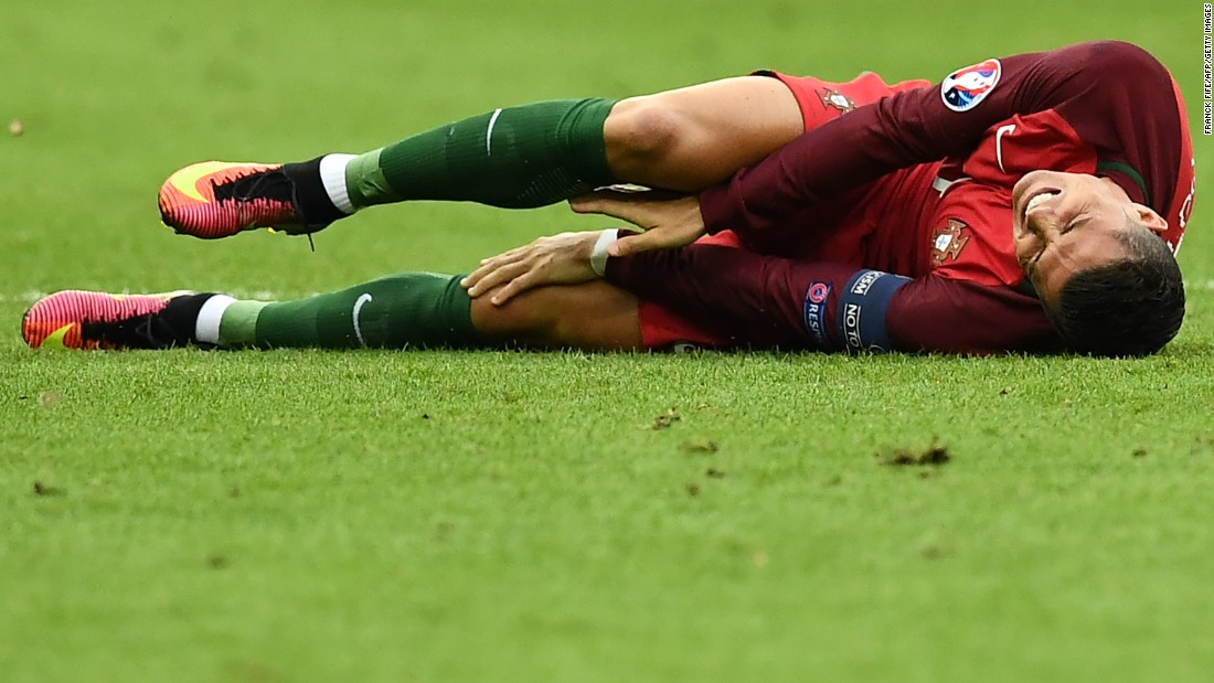 Ronaldo had left the field to receive treatment and come back on but the pain was too much for him to continue.