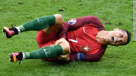 Ronaldo failed to recover from a collision with Dimitri Payet.