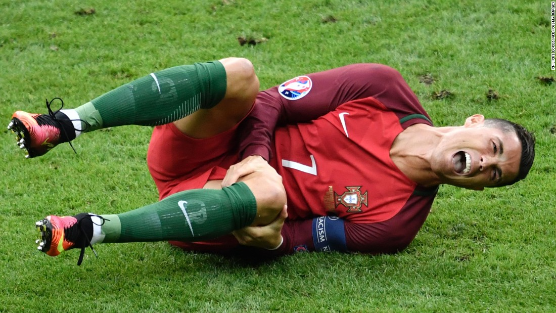 Ronaldo's final looked like it would end in tears after he was forced to leave the field on a stretcher after suffering a knee injury.  The Portugal star lasted just 23 minutes and was visibly upset.