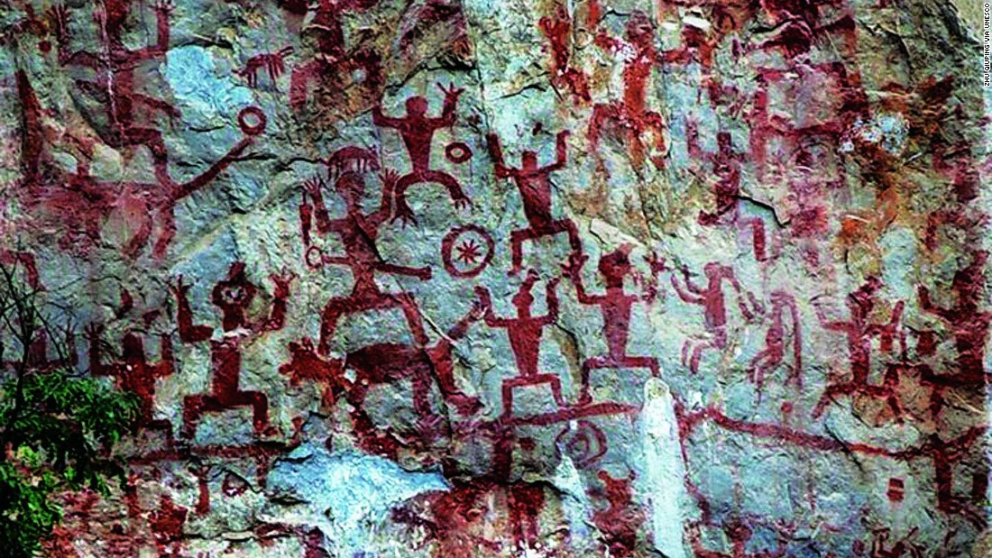 Dating from the 5th century BC to the 2nd century AD, the Luoyue people of southwest China are depicted in 38 rock art sites that illustrate their life and rituals, which include the region's once prominent bronze drum culture. These are the only remains of that culture.