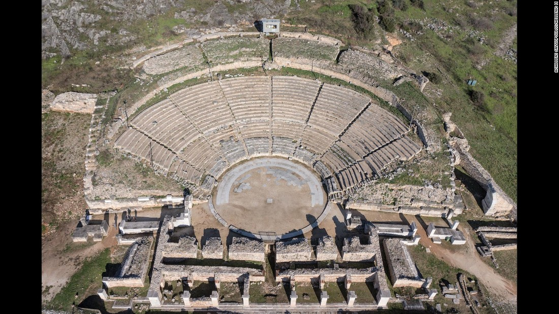 The walled city of Philippi, whose remains are in present-day Eastern Macedonia and Thrace, was founded in 356 BC by the Macedonian King Philip II and has a Hellenistic theater (shown here), funerary heroon (temple) and Roman forum. Following a visit by the Apostle Paul in 49-50 AD, it became a center for Christians.