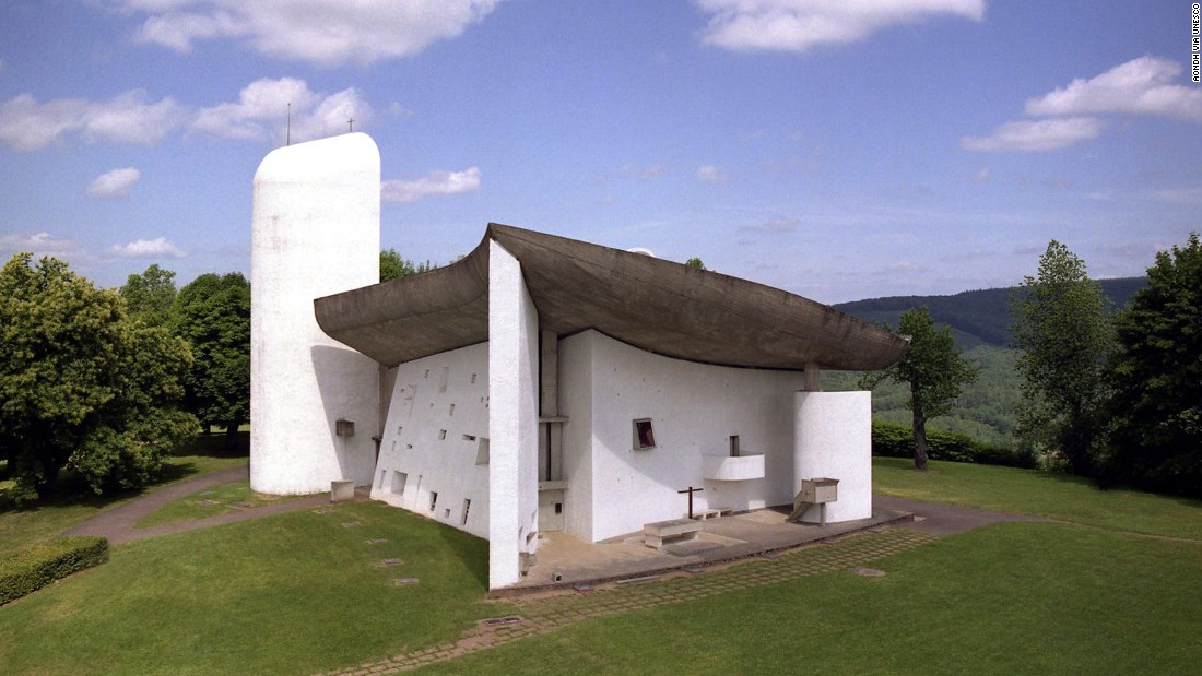 "The architectural work of Le Corbusier is an ""outstanding contribution to the modern movement."" The UNESCO-designated site covers 17 spots in seven countries. Built over the course of a half century, Le Corbusier's works include the Chapelle Notre-Dame du Haut in France (shown here) and the house of Dr. Curutchet in La Plata, Argentina.<br />"