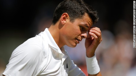 LONDON, ENGLAND - JULY 10:  Milos Raonic of Canada looks on during the Men's Singles Final  against Andy Murray of Great Britain on day thirteen of the Wimbledon Lawn Tennis Championships at the All England Lawn Tennis and Croquet Club on July 10, 2016 in London, England. (Photo by Andy Couldridge-Pool/Getty Images)
