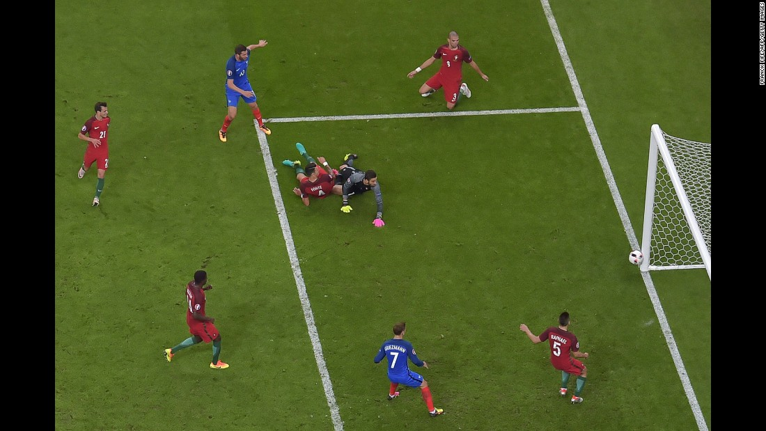 France's forward Andre-Pierre Gignac went close just before the end of 90 minutes but his effort hit the post.