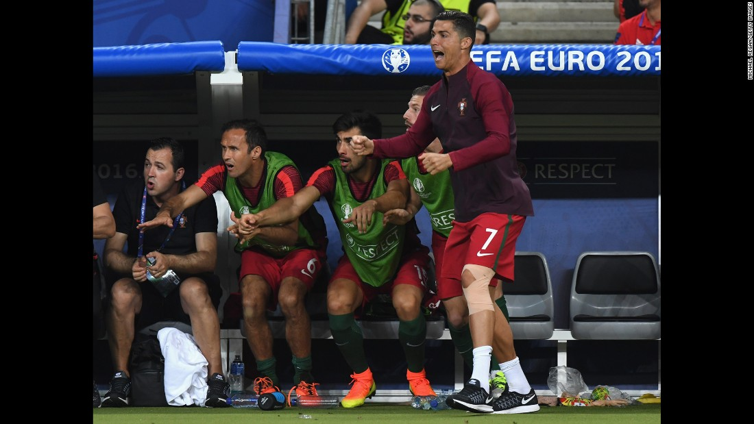 Ronaldo, who had come off injured in the first half, rooted for his teammates from the sidelines.