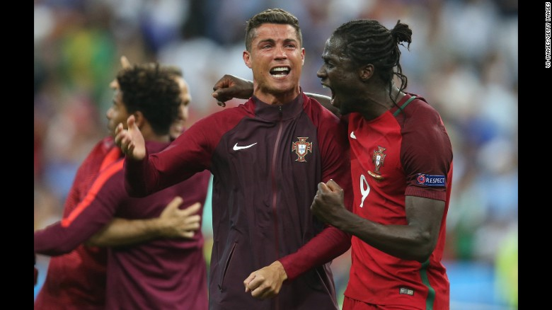 Cristiano Ronaldo celebrated with teammate Eder, the goalscorer, after Portugal defeated France 1-0 to win Euro 2016.