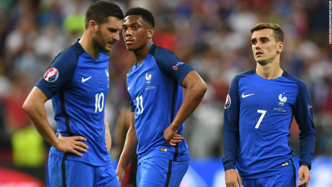 France's players were left stunned by the defeat which ended its hopes of a third European title.