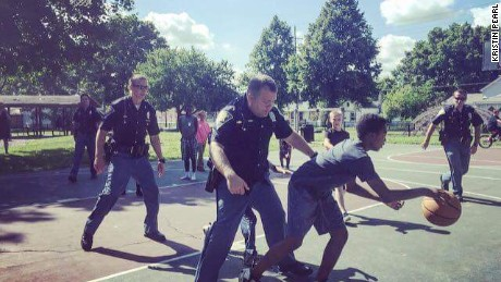 It was cops vs. kids on the court Saturday in Lafayette, Indiana.