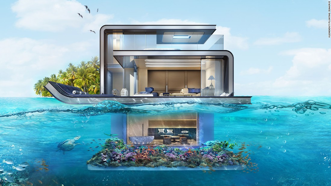 The Floating Seahorse villas take the houseboat concept to the next level.For starters, each three-story retreat features an entire floor submerged beneath the sea. Brought to life by Kleindienst real estate and property developers, the villas are part of the Heart of Europe resort opening off the coast of Dubai.