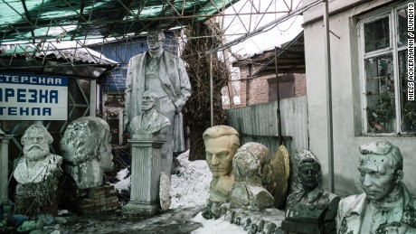 Lenin alongside Marx and Stalin in Kharkiv, part of a private collection.