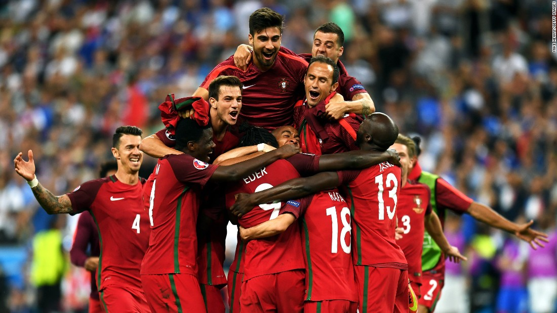 Portugal celebrates after winning the Euro 2016 championship match on Sunday, July 10. Eder's goal came in the 109th minute, stunning the French, who have beaten the Portuguese in their previous 10 meetings.