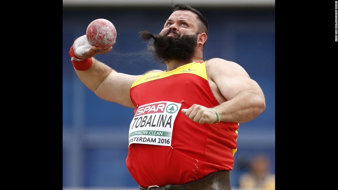 Spain's Borja Vivas competes during the shot put qualification round at the European Athletics Championships on Saturday, July 9.