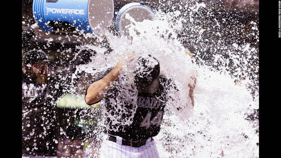 Colorado Rockies starting pitcher Tyler Anderson is doused with water by teammates following their game against the Philadelphia Phillies on Saturday, July 9. The Rockies defeated the Phillies 8-3.