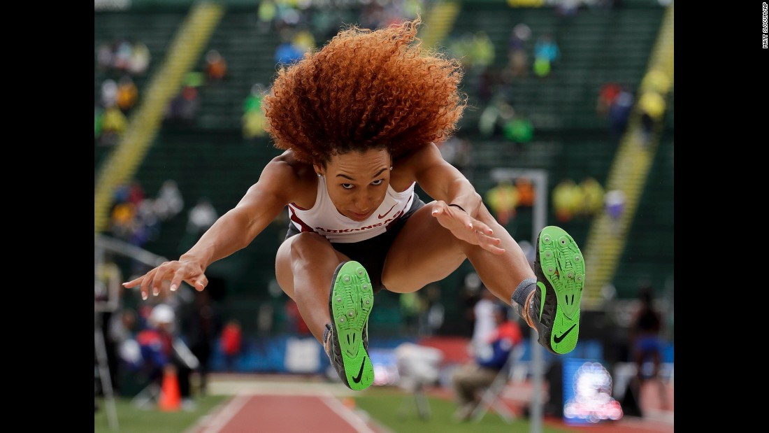 Taliyah Brooks competes during the heptathlon long jump at the U.S. Olympic track and field trials on Sunday, July 10.