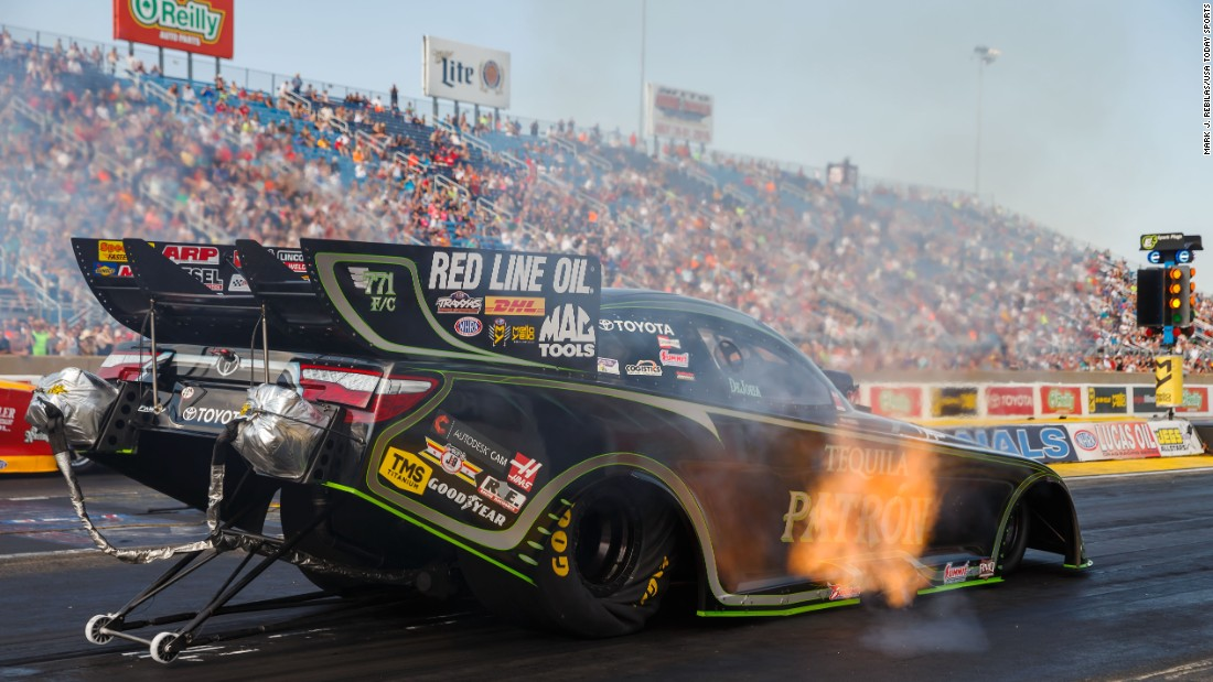 National Hot Rod Association driver Alexis DeJoria's car is seen during the Route 66 Nationals qualifications on Saturday, July 9.
